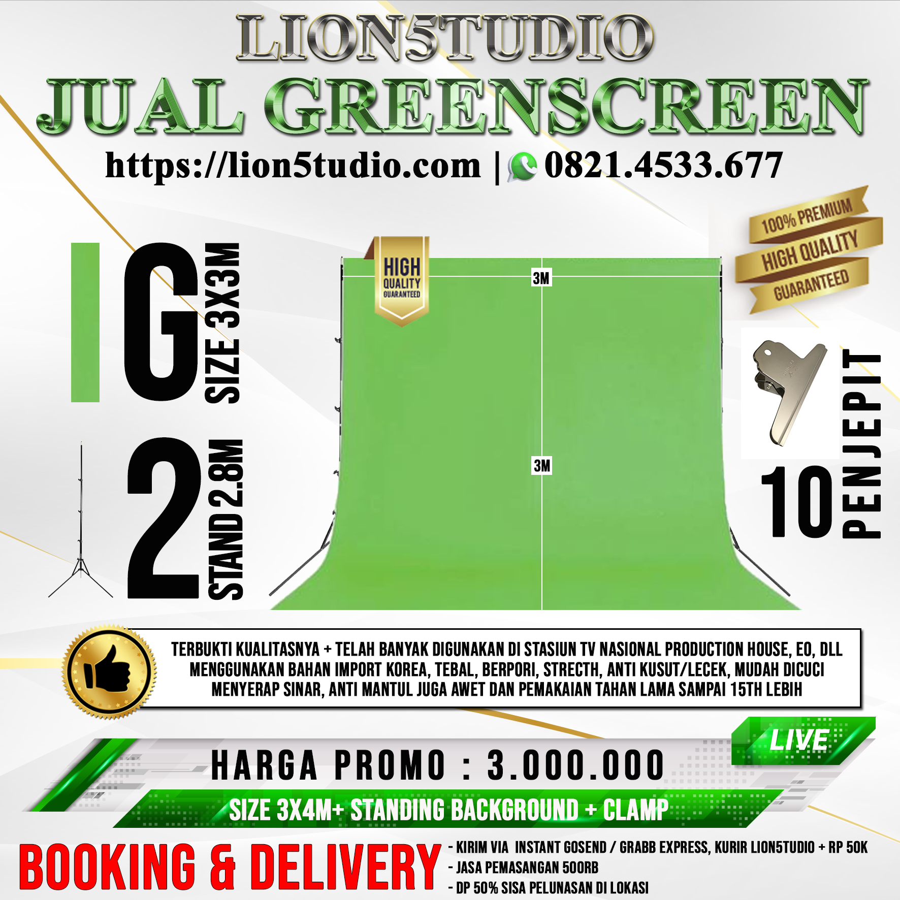 Pricelist Jual Greenscreen 3X3M