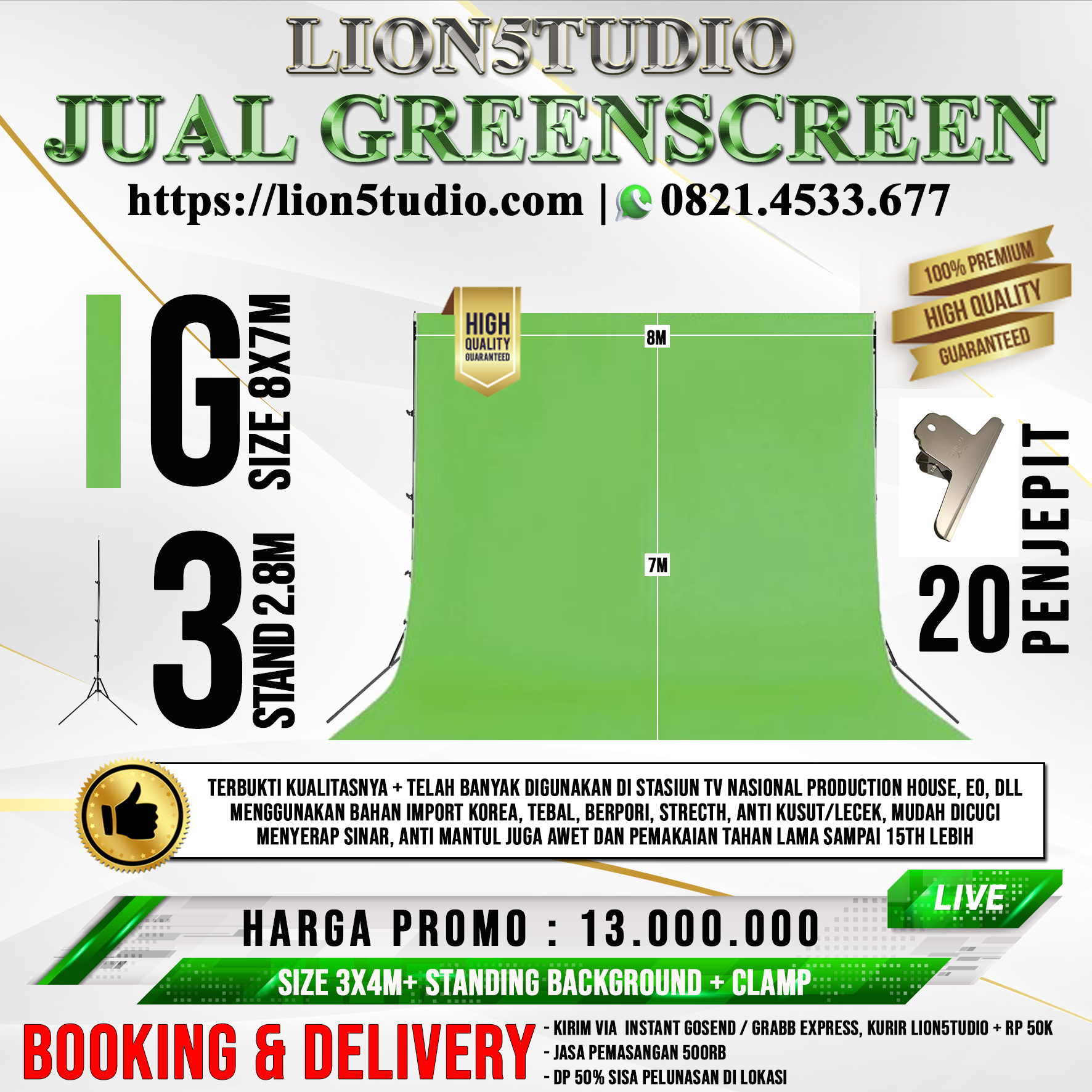 Pricelist Jual Greenscreen 8X7M